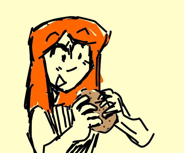 Red head eats a potato