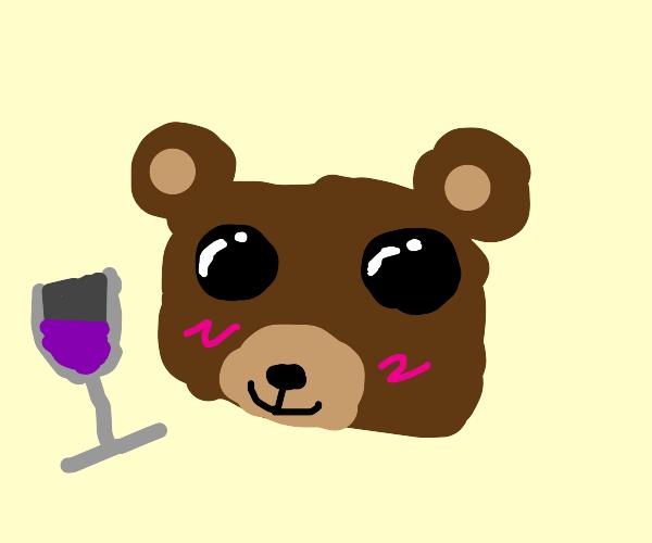 Kawaii bear with a fancy drink.