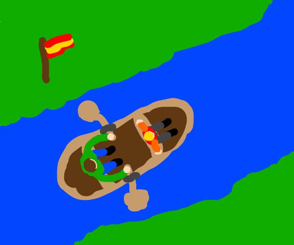 Dos humanos están navegando en barco