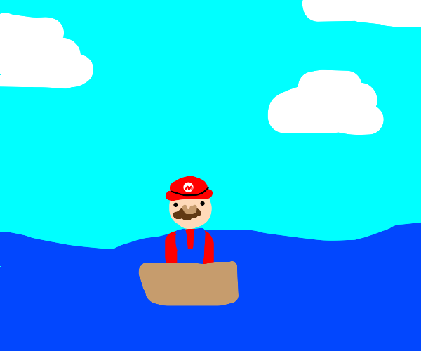 Mario riding a boat