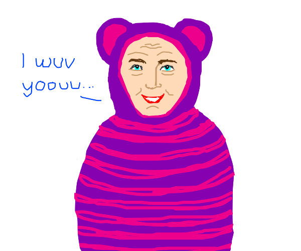 Pink haired person in a stripes bear costume