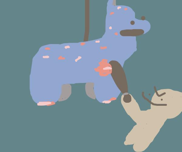 a sentient llama pinata getting hit by a bat