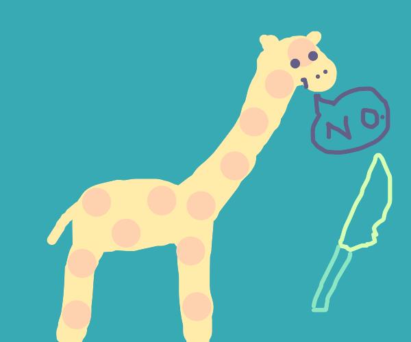 Knife makes giraffe sad