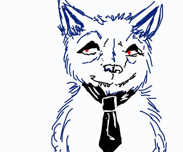 wolf wearing a tie