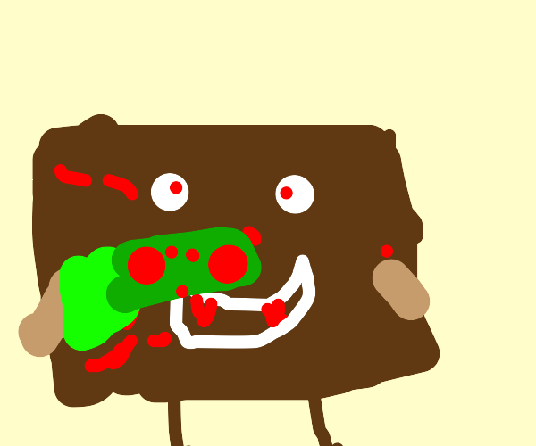 Bloody toast with a gun