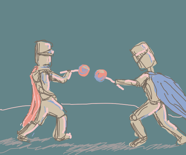 Knights fencing with lollipops