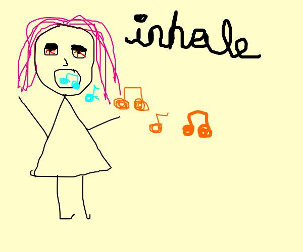 Pink-hair grl inhales music notes to get high