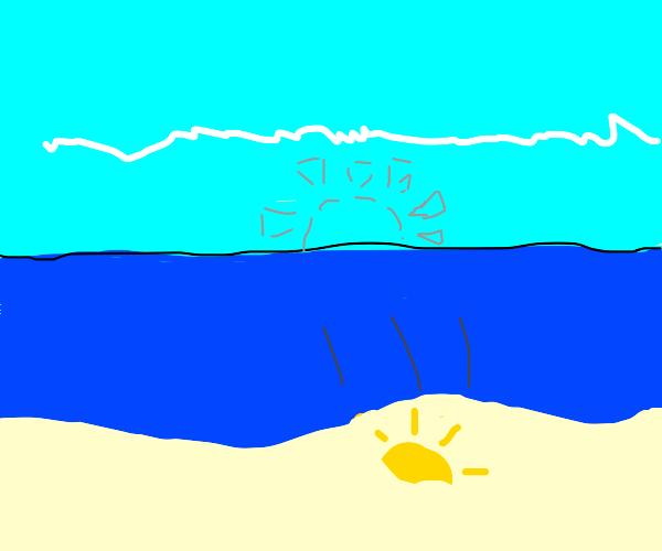 The sun fell down on the beach