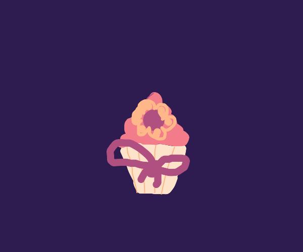 flower ribbon cupcake