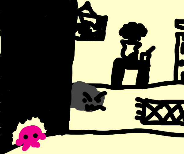 Kirby being chased by an angry sentient rock