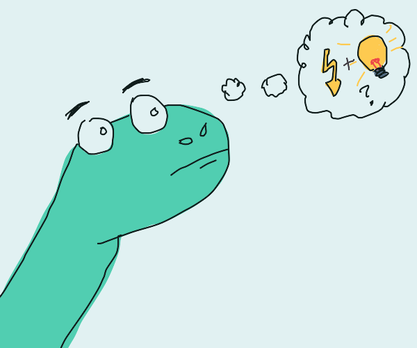 Dinosaur thinks about electricity