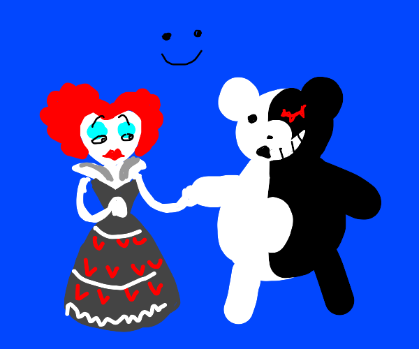 Queen of Hearts(?) and her pal, yin-yang bear