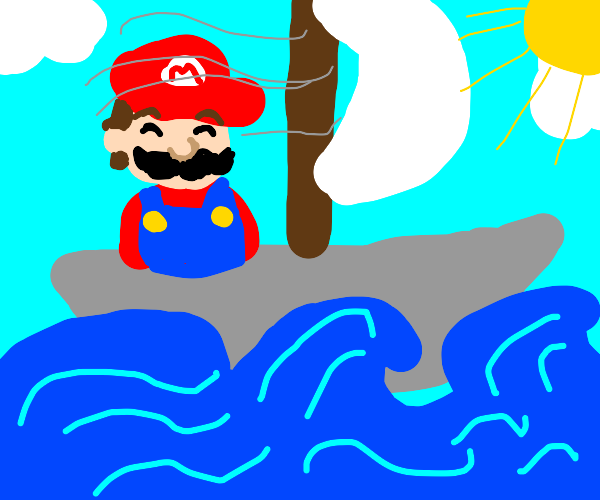 Mario on a boat