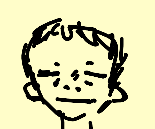 some guy with closed eyes