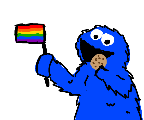 blue monster with pride flag