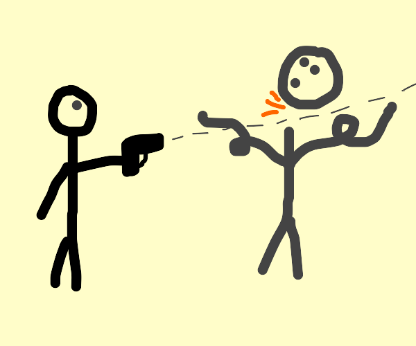 may shoots a man's head off