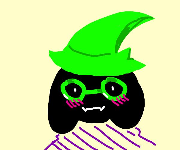 Ralsei (black fur, hat) blushing