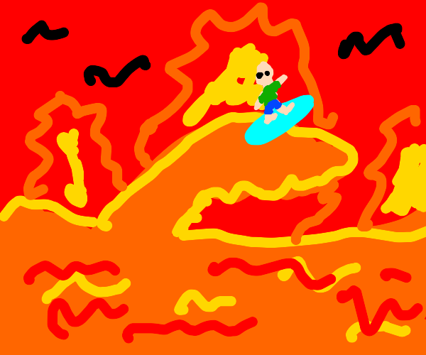 Surfin through the flames of hell