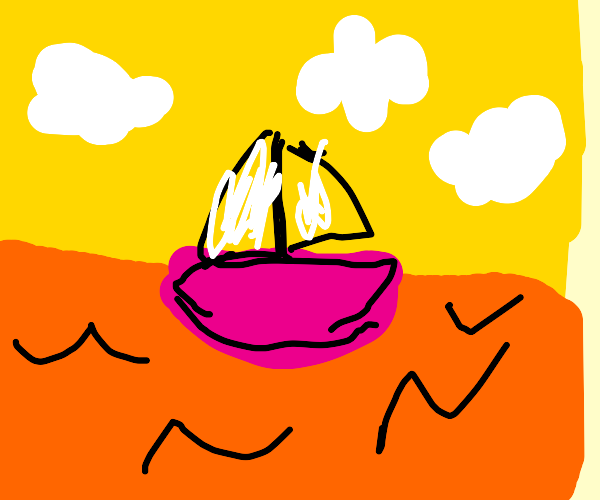 Pink boat in an orange sea under a yellow sky