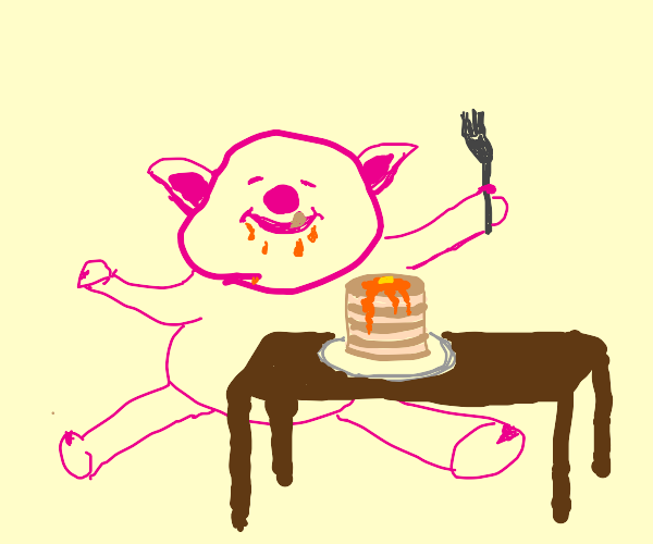 Happy pig eating pancakes