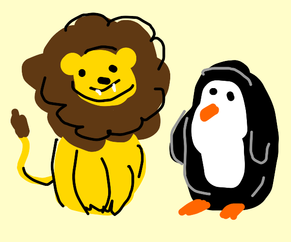 Lion and a penguin