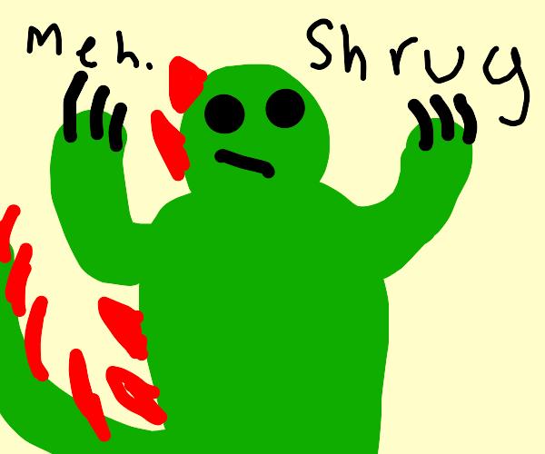 dino shrugging