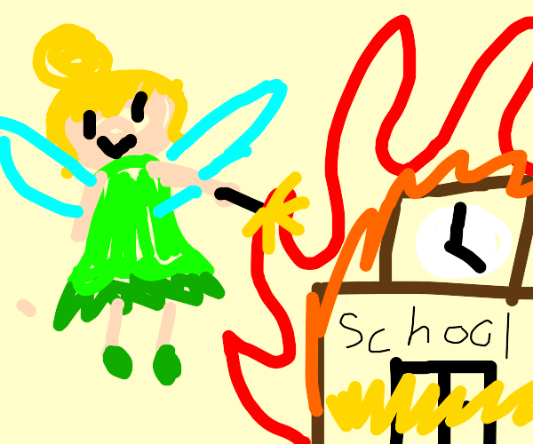 Fairy sets fire to a school
