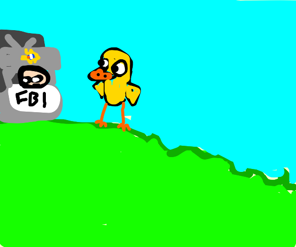 the duck walked up to the F.B.I stand!