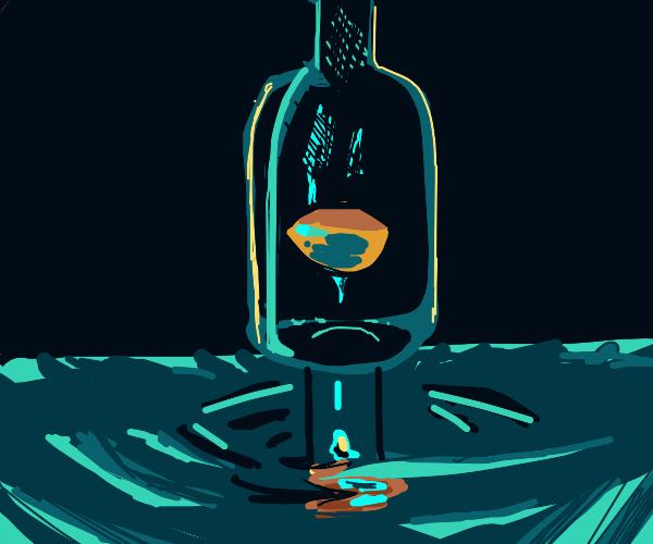 sad bottle looks at reflection