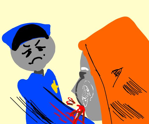 Cop attacking criminal in orange suit