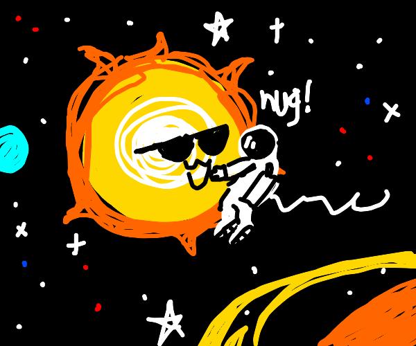 astronaut trying to hug the sun