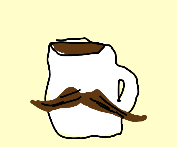 Cup of coffee with a beard