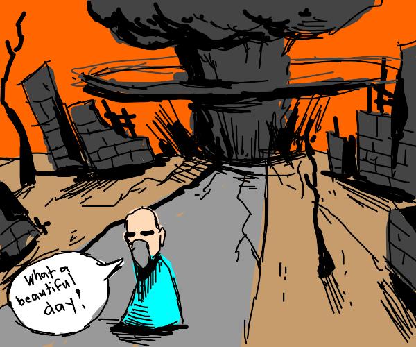 Blind man cannot see mushroom cloud