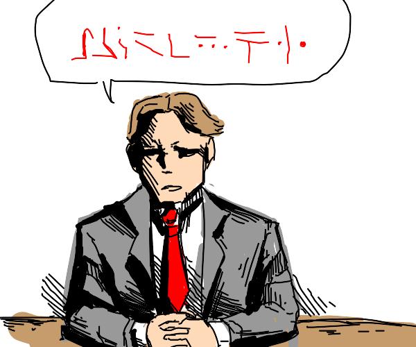 Person speaking gibberish