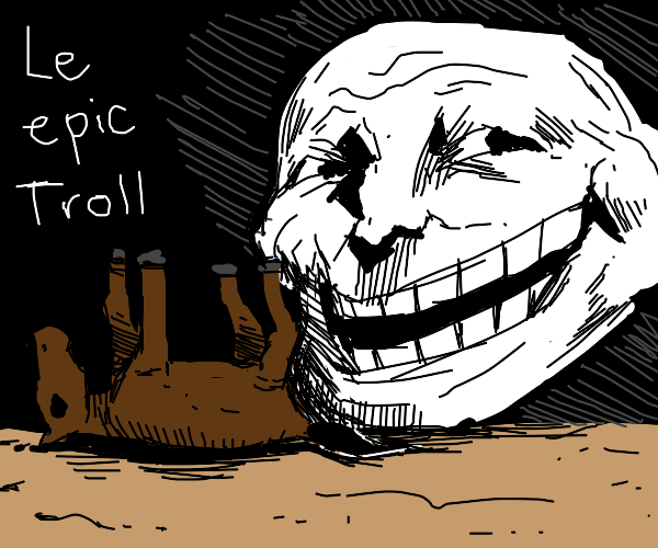 troll face laughs over dead horse