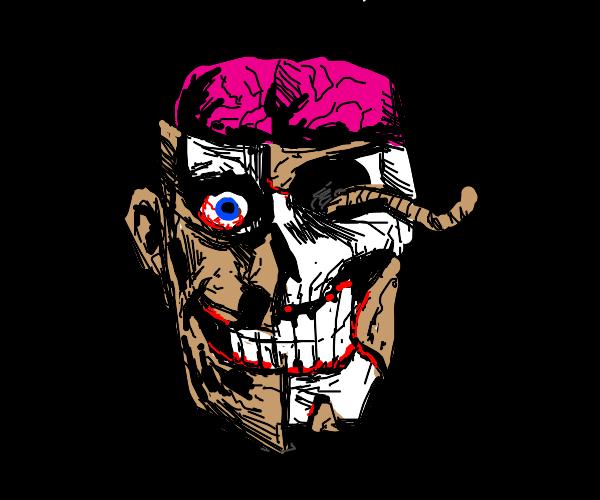 Rotting skull w/ skin, one eye, maggot, brain