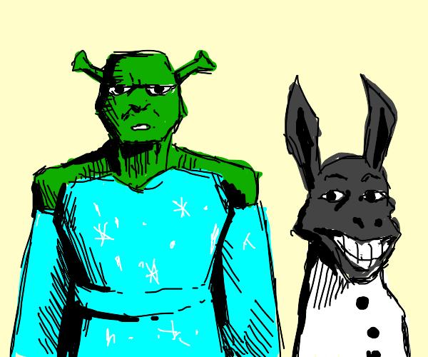 Shrek and Donkey dressed up as Elsa and Olaf