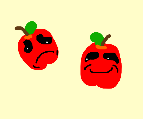 Theater masks but with apples