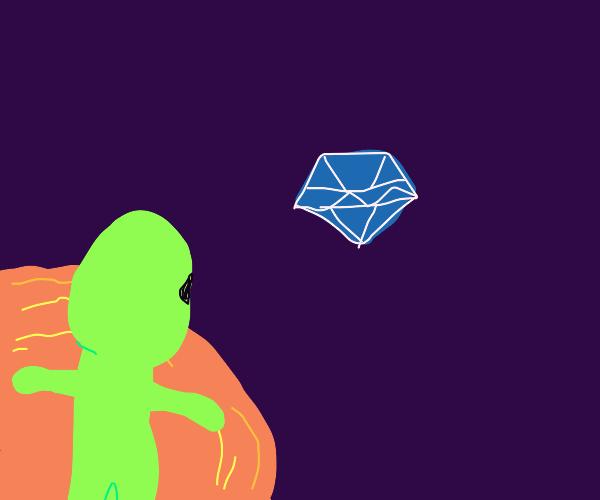 Alien watches a diamond float through space
