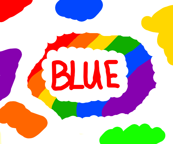 The word blue colored in red