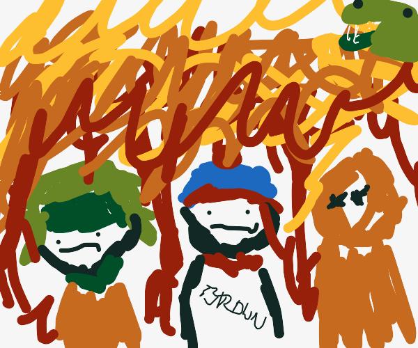 Godzilla burning down South Park