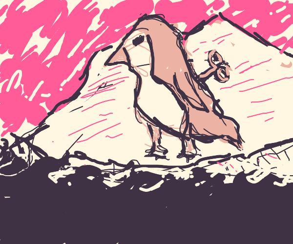 wind up gold penguin on an phantom ice berg
