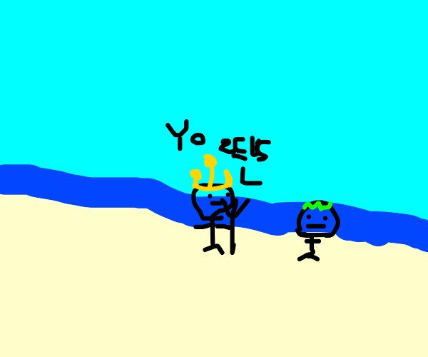 Poseidon visits Zeus on a beach