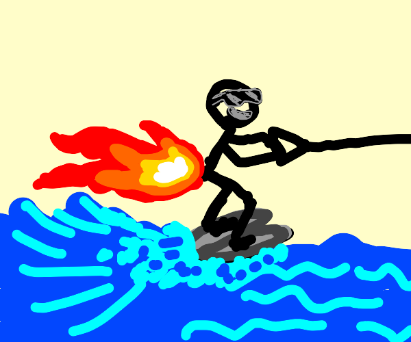 Man waterskiing by farting fire