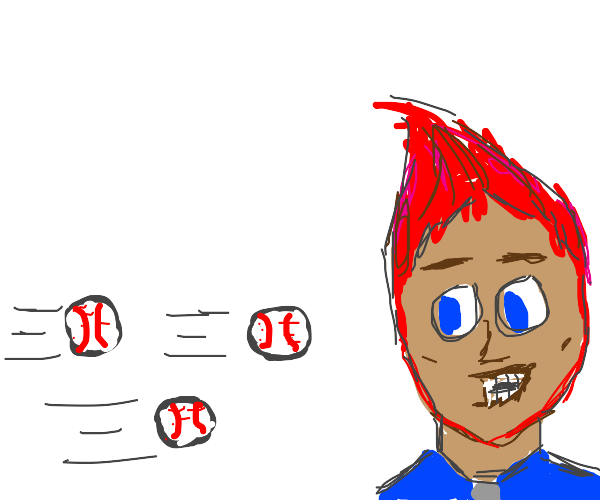 Baseballs get thrown at happy red-haired man