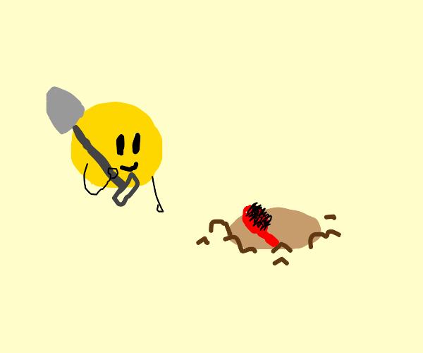 Emoji planting a Brush