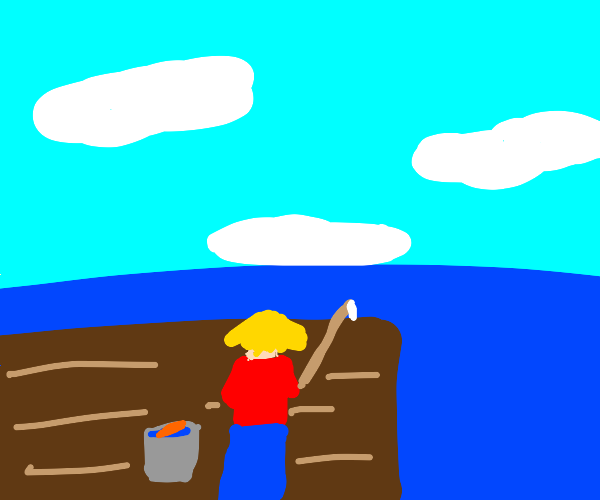 Man standing on a bridge fishing