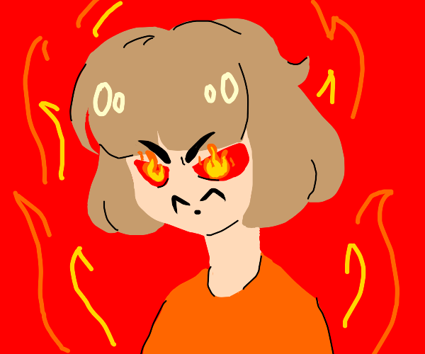 Very very very angry brown haired person