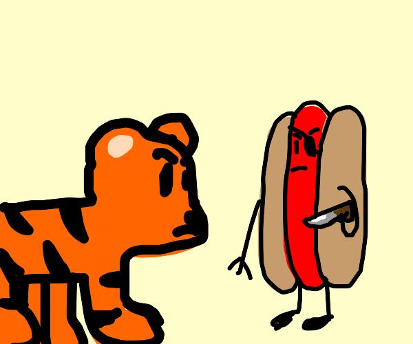 Tiger battles a pirate hot dog