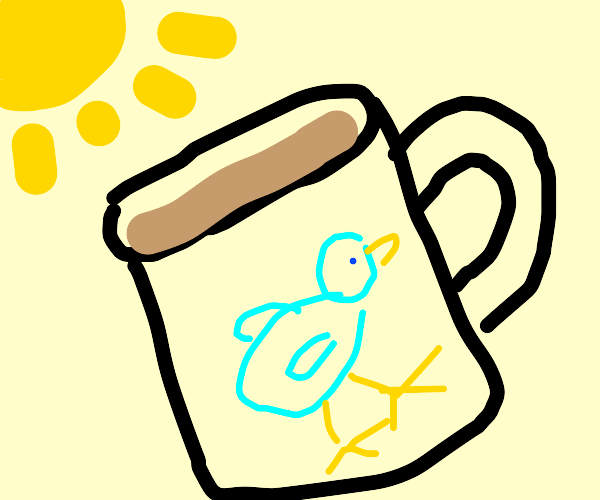 Sunny day with a coffee in a bird-themed mug